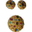 ART Signed 1960's Jeweled Brooch/Pendant & Earring Set