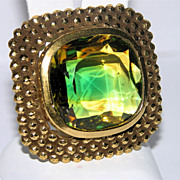 SALE Accessocraft N.Y.C. Peridot-Topaz Glass Brooch