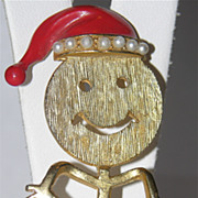 1970's Smiley Face Santa Stick Figure Christmas Pin