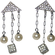 RARE Vendome 1960's Rhinestone Cube & Faux Pearl Drop Earrings