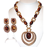 Joseph Mazer 1950's Runway Statement Necklace &