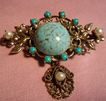 Vintage Original By Robert Faux Turquoise Pearl Drop  Brooch