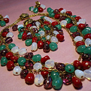 Vintage Triple Strand Multi Glass Bead Parure with Ornate Clasps