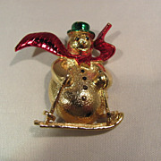 Vintage Gerry Snowman Pin