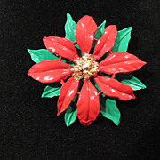 SALE Vintage Poinsettia Christmas Pin