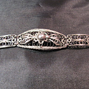 SALE Ornate Lacy Sterling Filigree Hinged Bracelet