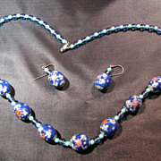 SALE Cloisonne Glass Enamel Necklace and Earrings