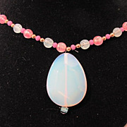 SALE Monet Pink And Blue Glass Bead Necklace