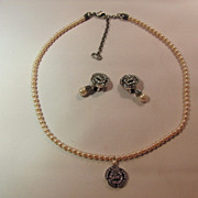 SOLD Vintage Christian Dior Swarovski Pave Crystal and Faux Cultured Pearl Necklace