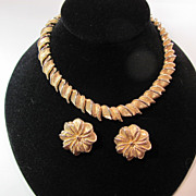 SALE Vintage Marboux Gold Tone Necklace with Clip Earrings