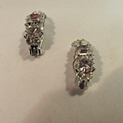 SALE Lisner Clip Rhinestone Earrings