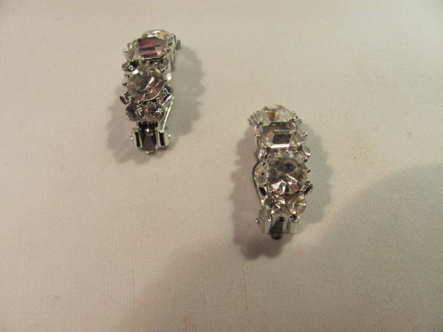 Lisner Clip Rhinestone Earrings