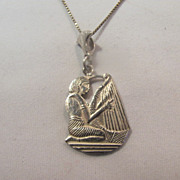 SALE Vintage Sterling Silver Pendant/Egyptian Revival