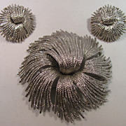 SALE Monet 1980's Silver-Plated Large Brooch and Earrings