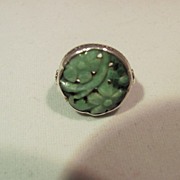 Antique Carved Jade Sterling Ring
