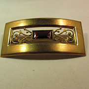 SALE Amethyst Brass Ornate Brooch Sash Early 1900's