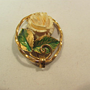 SALE K L Company 12K Gold Filled Craved Rose Pin