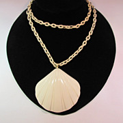 SALE Trifari Molded Plastic Creamy Shell Pendant Necklace