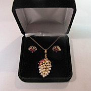 SALE 14K Gold Ruby, diamond and fresh water pearls pendant and earrings.