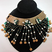 SALE Haskell Bib Emerald Pressed Glass And Glass Pearls Necklace