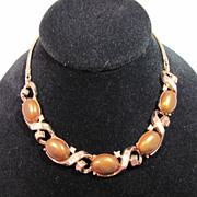 Vintage Trifari Brown Lucite and White Baguette Rhinestone Adjustable Necklace