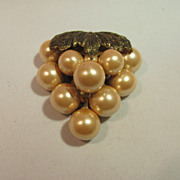 Miriam Haskel Unsigned c 1940's Grape Cluster Faux Pearl Fur Clip