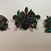 Multicolor Navette Rhinestone Brooch and Clip Earrings
