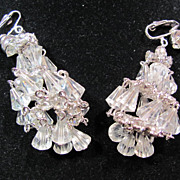 Chandelier Rhinestone Crystal Clip Earrings