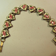 Sterling Heart With Pink Roses Enameled Bracelet