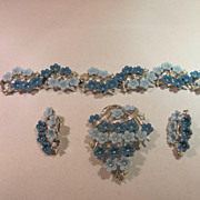 Coro Blue Flowered Bracelet, Brooch and Earrings 1950's