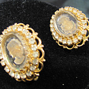 Intaglio Glass Cameo Earrings with Rhinestones