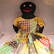 Vintage Folk Art Black Doll