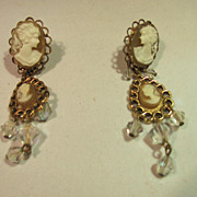 Cameo Dangle Earrings Pierced