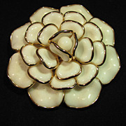 Trifari Crown 1950's White Poured Glass Carmelia Flower Brooch