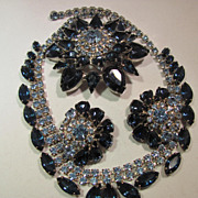 Blue Rhinestone Necklace ,Earrings and Matching Brooch