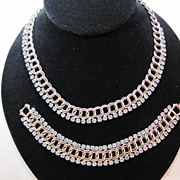 Blue and Silver Rhinestone Chain Choker and Bracelet