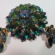 Vintage Green and Blue Rhinestone Brooch and Earring set