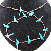 Turquoise Fetus Necklace Southwestern made