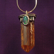 Natural Brazilian Yellow Amethyst Crystal & Opal Pendant in Sterling Silver-Circa 1976