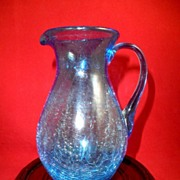 REDUCED Venetian Hand Blown Crackle Glass Pitcher, Pale Cobalt-circa 1910-1925