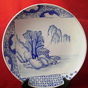 Antique Chinese Blue & White Porcelain Plate-Circa 1880