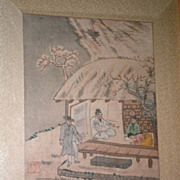 SALE Vintage Korean Painting-Original Watercolor-War Time Art-Singed-1943
