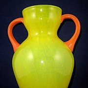 Hand Blown Art Class Vase, Double-Handle, Yellow & Orange, Circa 1980