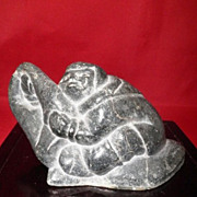 Inuit Eskimo Soapstone Carved Signed Sculpture-North American-Circa 1910
