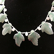 Antique Chinese Abventurine Leaf Bead Necklace, Green Beads Circa 1880-1900