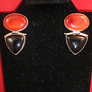 Classic Modern Amber Colored Agate & Black Onyx Silver Earrings-1982
