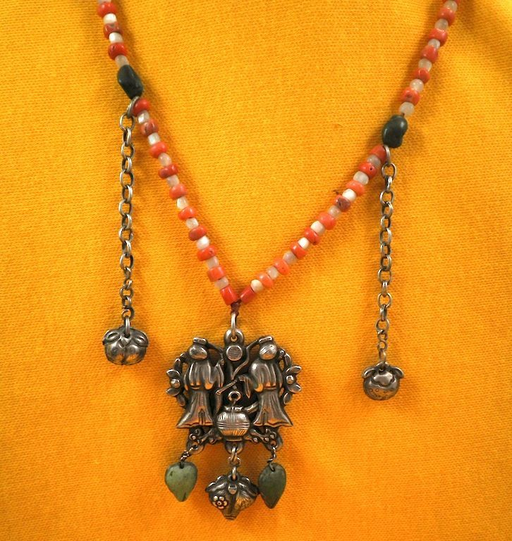 Chinese Marriage Necklace-Nephrite Jade, Red Coral, Mother-of-Pearl-Circa 1870-1910