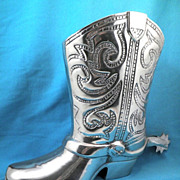 SALE Gigantic Vintage Pewter Cowboy Boot with Spinning Spur, Mexico, Circa 1950