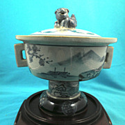 Chinese Ceramic Urn -Double Handle w/ Lid, circa 1970