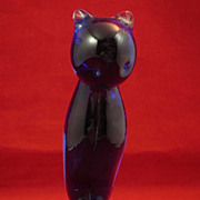 Hand-Blown Marino Glass Blue Cat Sculpture-Circa 1960